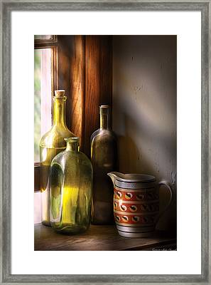 Wine - Three Bottles Framed Print by Mike Savad
