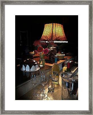 Wine And A Swirl Framed Print by Shirley Sykes Bracken