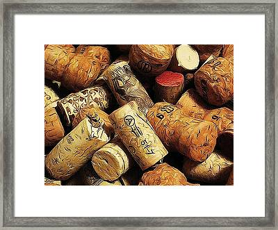 Wine And Champagme Corks Framed Print by Cathie Tyler