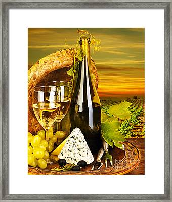 Wine And Cheese Romantic Dinner Outdoor Framed Print by Anna Omelchenko
