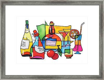 Wine And Cocktail Framed Print by Tatiana  Antsiferova