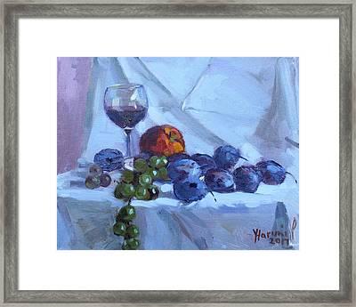 Wine And Fresh Fruits Framed Print