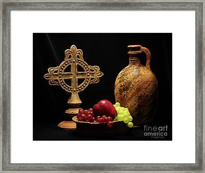 Framed Print featuring the photograph Wine And Fruit by Dodie Ulery