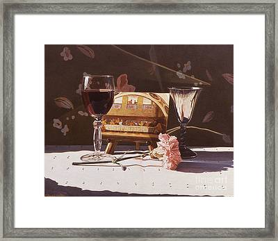 Wine And Last Supper Framed Print by Daniel Montoya