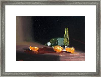 Wine And Oranges Framed Print by Greg Clibon