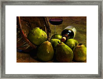 Framed Print featuring the photograph Wine And Pears by Gary Smith