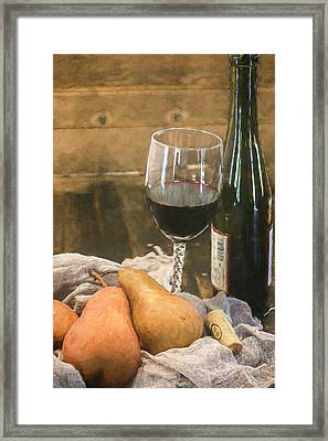 Wine And Pears Framed Print