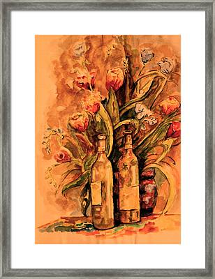 Wine And Tulips Framed Print by Dan Earle