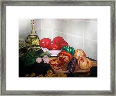 Wine And Veggies Framed Print