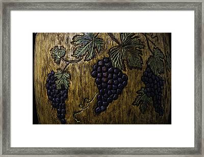 Wine Barrel Carvings Framed Print