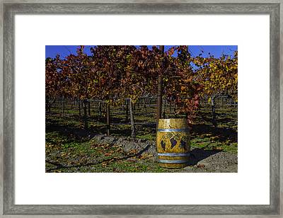Wine Barrel In Vienyard Framed Print by Garry Gay