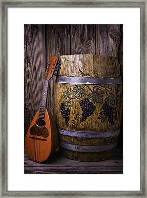 Wine Barrel With Mandolin Framed Print