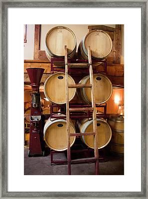 Wine Barrels Framed Print by Brian Manfra