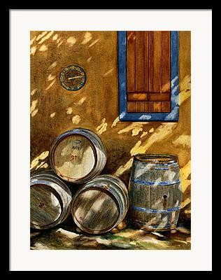 Barrels Paintings Framed Prints