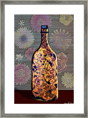 Wine Bottle And Floral Wall Framed Print