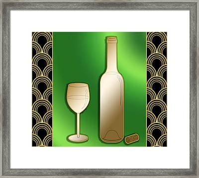 Framed Print featuring the digital art Wine Bottle And Glass - Chuck Staley by Chuck Staley