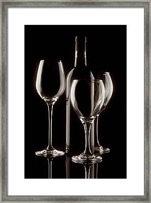 Wine Bottle And Wineglasses Silhouette II Framed Print by Tom Mc Nemar
