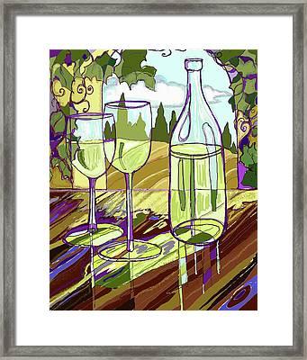 Wine Bottle In Window Framed Print