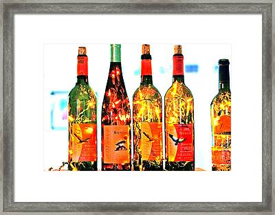 Wine Bottle Lights Framed Print by Margaret Hood