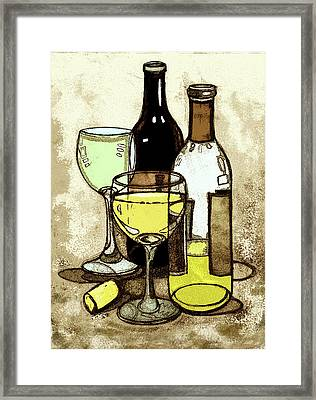 Wine Bottles And Glasses Framed Print by Peggy Wilson