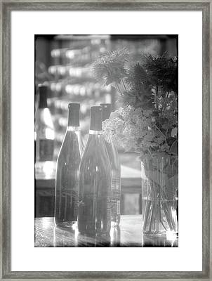 Wine Bottles Bw Vertical Framed Print