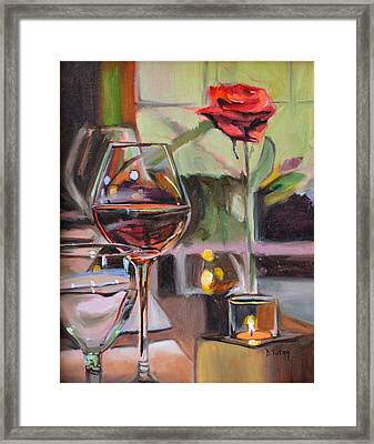 Wine By Candlelight Framed Print by Donna Tuten