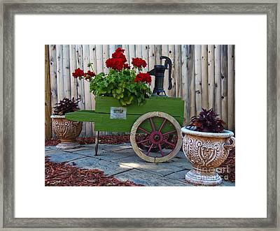 Wine Cart Pump Geranium Planter Framed Print