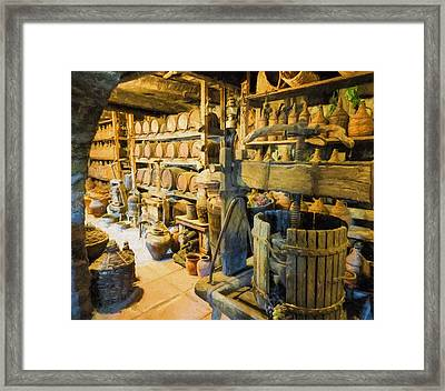 Wine Cellar And Press Framed Print
