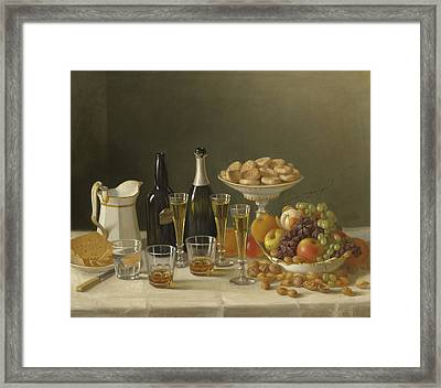 Wine, Cheese, And Fruit Framed Print by John F Francis