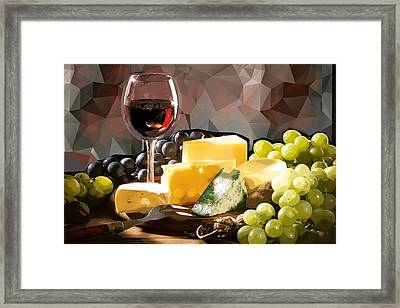 Wine Cheese And Grapes Still Life Framed Print by Elaine Plesser