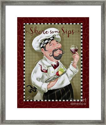 Wine Chef-share Some Sips Framed Print