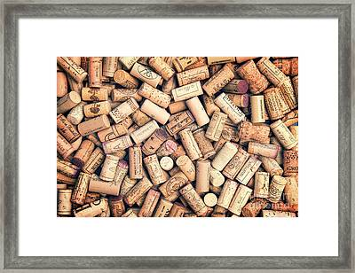 Wine Corks Framed Print by Delphimages Photo Creations