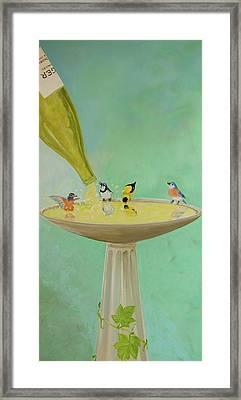 Wine Country Bird Bath Framed Print by Deb Breton