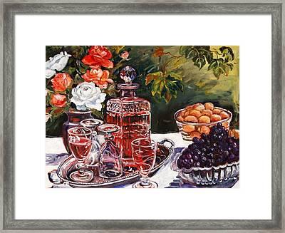 Wine Decanter Still Life Framed Print by Alexandra Maria Ethlyn Cheshire