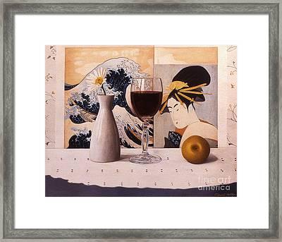 Wine Glas And Japanese Prints Framed Print by Daniel Montoya