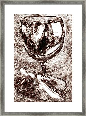 Wine Glass And Figs Still Life Framed Print by Ben and Raisa Gertsberg