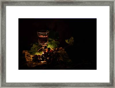 Wine Glass And Grapes Framed Print