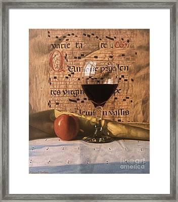 Wine Glass And Manuscript Framed Print by Daniel Montoya