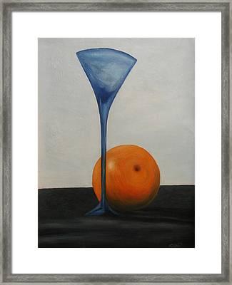 Wine Glass And Orange Framed Print