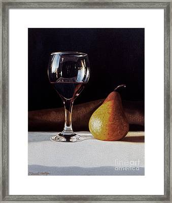 Wine Glass And Pear Framed Print by Daniel Montoya