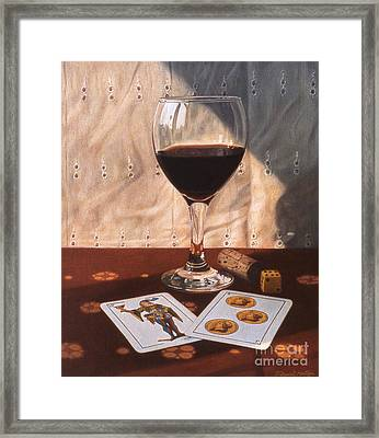Wine Glass And Playing Cards Framed Print by Daniel Montoya
