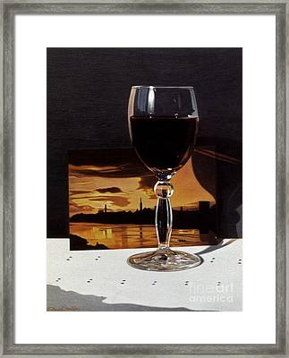 Wine Glass And Postcard Of Florence Framed Print by Daniel Montoya