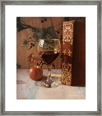 Wine Glass And Red Book Framed Print by Daniel Montoya