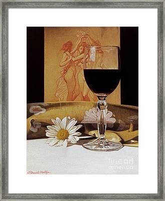 Wine Glass And Three Graces Framed Print by Daniel Montoya