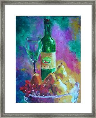 Wine Grapes And Pears Framed Print by Virgilla Lammons