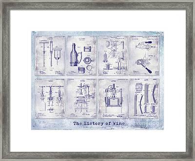 Wine History Patent Blueprint Framed Print by Jon Neidert