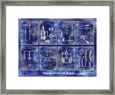 Wine History Patents Blue Framed Print