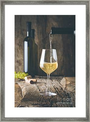 Wine In Glass Framed Print by Mythja Photography