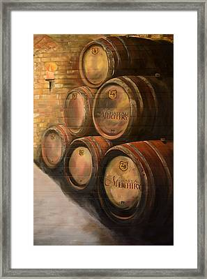 Framed Print featuring the painting Wine In The Barrels - Chateau Meichtry by Jan Dappen