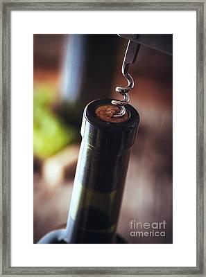 Wine In Wine Cellar Framed Print by Mythja Photography